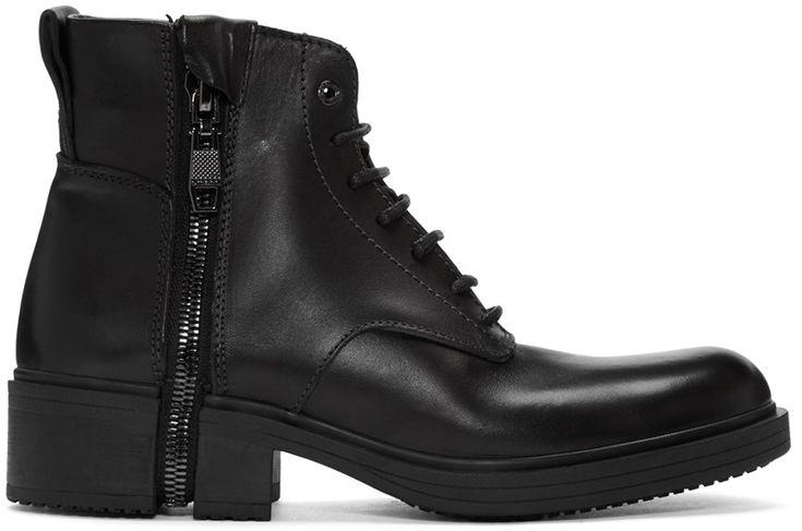 DIESEL Black D-RR Laced Boots. #diesel #shoes #boots