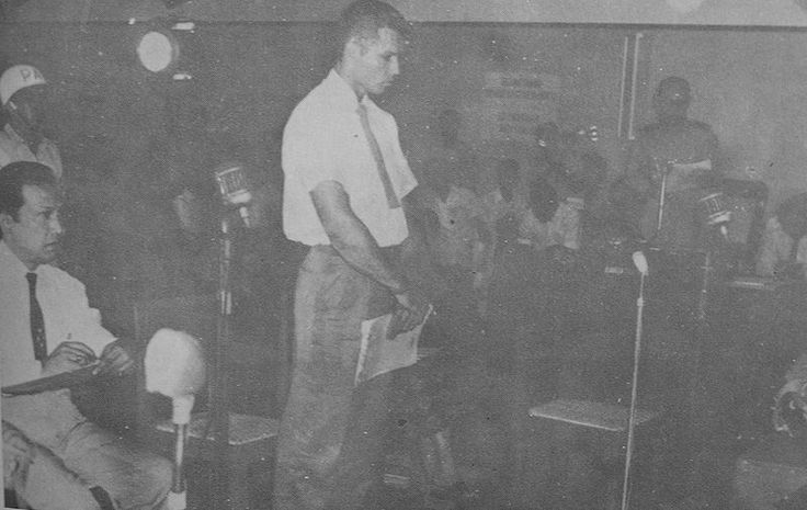 Allen Pope during his trial in Jakarta December 28th, 1959. Pope was a CIA agent involved in Permesta Insurgency. He was operating a B-26 Invader when a P-51 Mustang of Indonesian Air Force shot his plane down.
