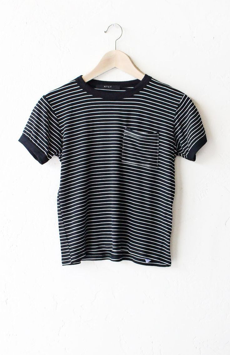 "- Description Details: Super soft knit striped ringer tee in black/white with black contrast collar & sleeve bands and pocket. Slightly Cropped. Measurements: (Size Guide) S: 31"" bust, 19"" length M: 3"