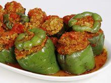 gevulde paprika met gehakt, beetje aanpassen voor Dukan