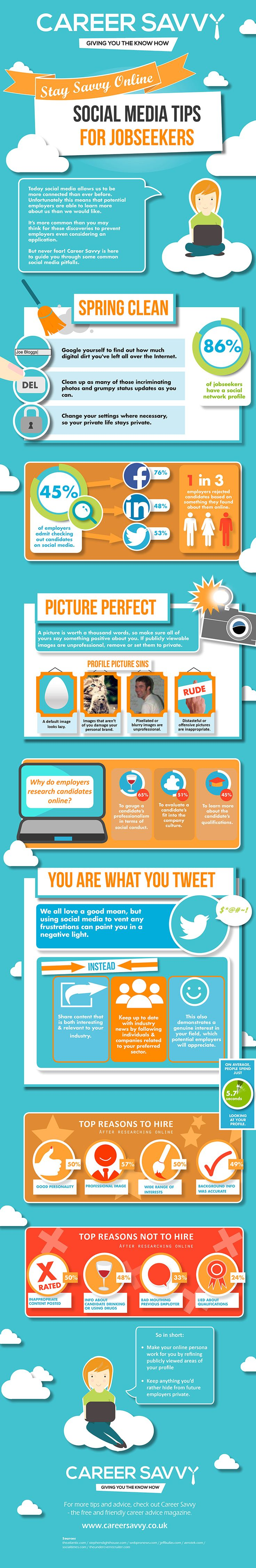 Charming Stay Job Search Savvy With These Social Media Tips #Infographic