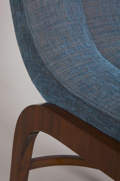 Couple of armchairs, gloss rosewood, blue-gray upholstery fabrics evocative genius loci year 1925