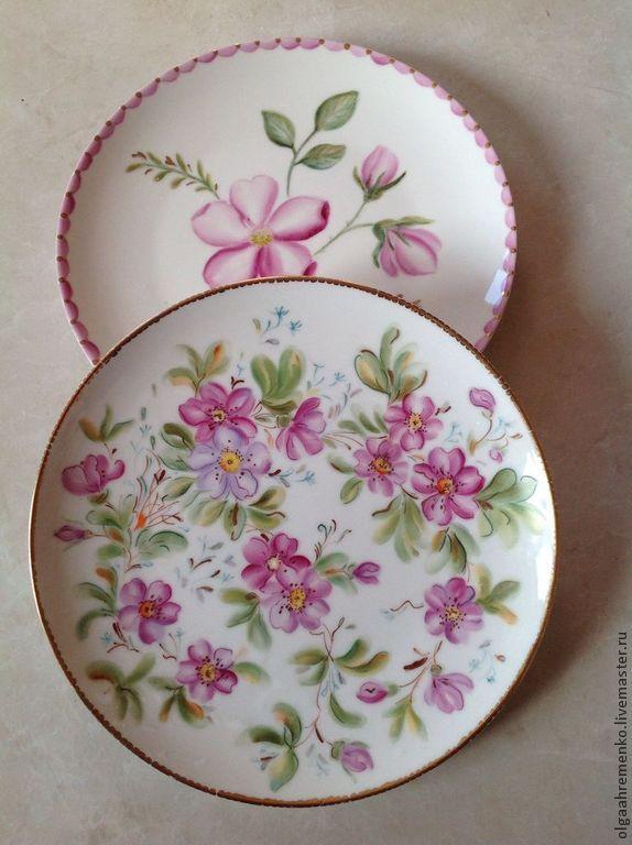 """Купить Терелки расписные """"Цветочные"""" - фарфоровая посуда, фарфоровая тарелка, расписной фарфор, расписная посуда"""