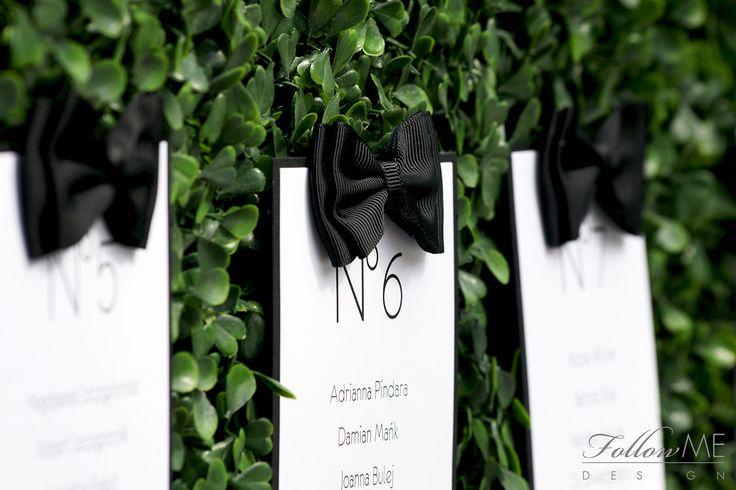 Karty menu, Numery stołów, Plan sali / Plan stołów / Tablica gości / Dekoracje ślubne inspirowane Canel No. 5 od FollowMe DESIGN / Menu Card, Table Numbers, Table Plan / Chanel No.5 Wedding Decorations & Details by FollowMe DESIGN