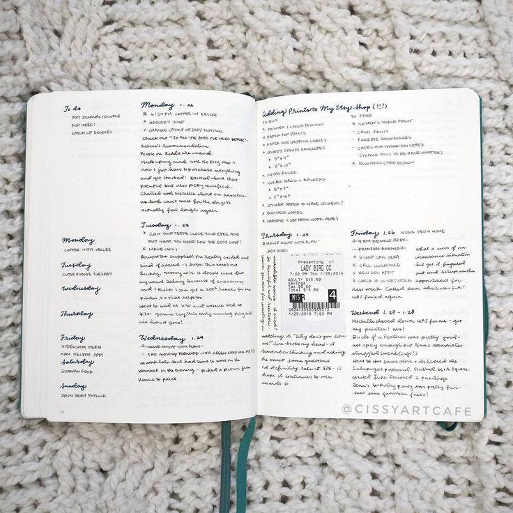 "Gefällt 85 Mal, 2 Kommentare - Cissy's Art Café (@cissyartcafe) auf Instagram: ""Last week's spread! Tried out a column weekly layout - I love that the bullet journal format allows…"""