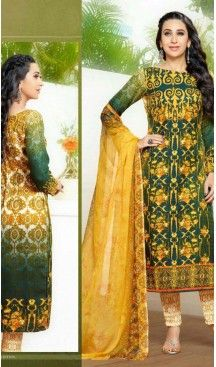 Bollywood Actress Karishma Kapoor Bottle Green Colored Pashmina Straight Cut Stitched Salwar Kameez