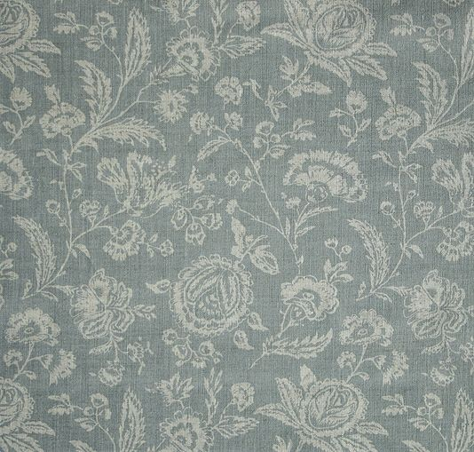 French Toile Linen Fabric A mono print of floral design in grey blue printed on a natural linen cloth, has a French vintage look about it. Suitable for drapery, soft furnishings and light domestic upholstery