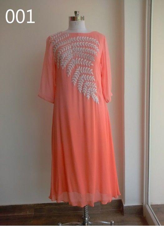 Designer Peach Colour Georgette Embroidered Kurti
