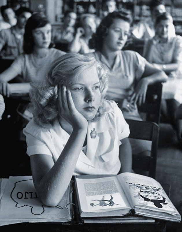 "Student daydreaming during class. Photograph by Allan Grant. Florida, USA, March 1947. Time Life Pictures. Hardly a sycophantic ""celebrity photographer,"" Grant (1919-2008) was perfectly aware of his own skills as a photographer, and a newsman. When asked in an early 1990s interview by LIFE staffer, John Loengard, what kind of photographer he thought he was, Grant replied with a refreshing directness: ""I would say a good one, for starters. I stayed [at LIFE] for a long time. I was very…"