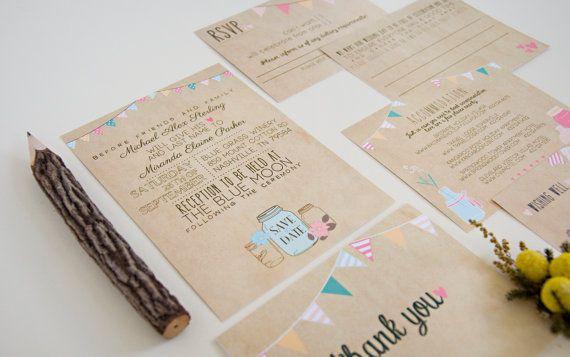 Wedding Invitation Suite DEPOSIT Printable por SplashOfSilver