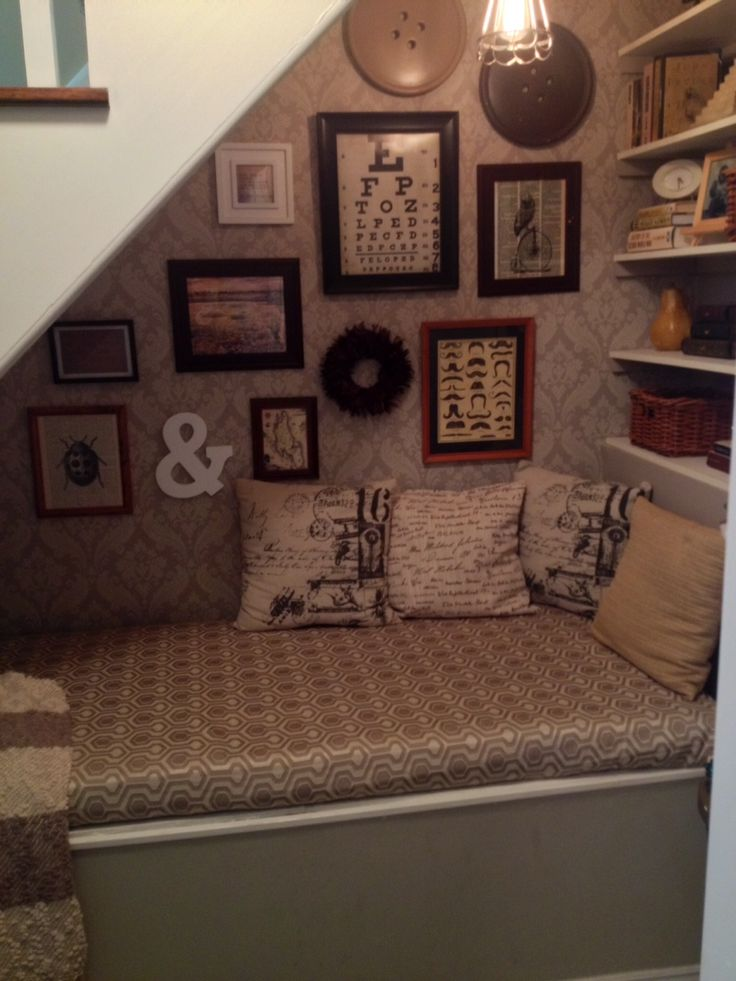 Before and after of closet turned reading nook...