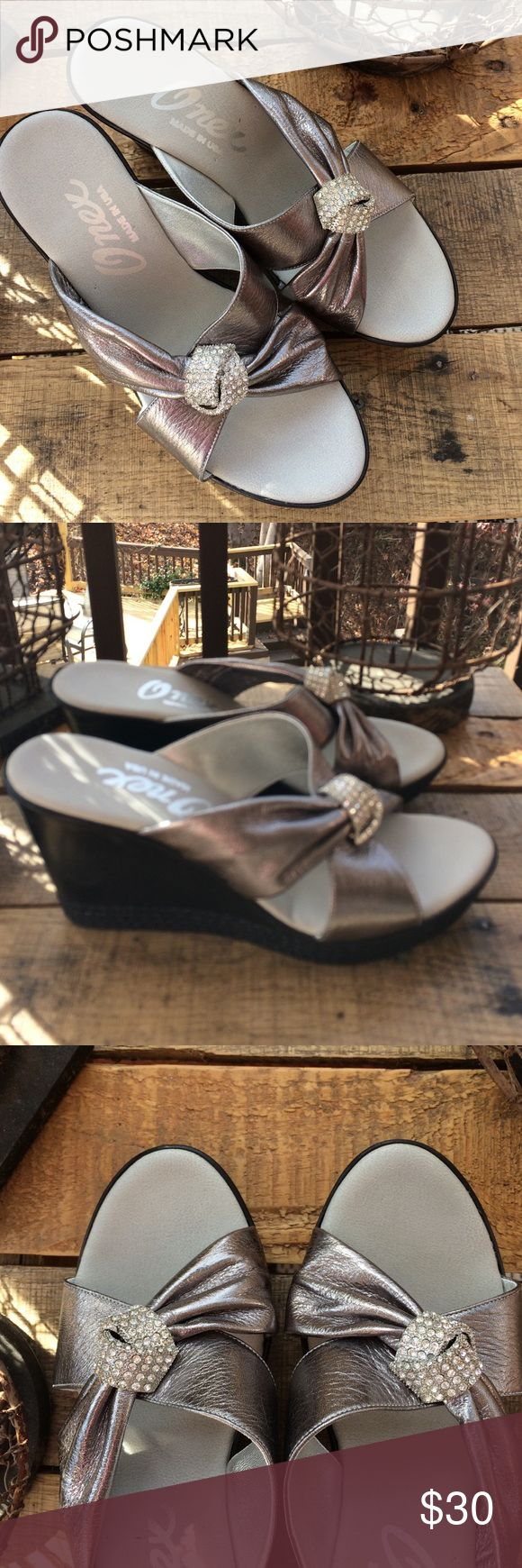"""ONEX silver wedges with crystal accents.  New 7 ONEX silver slide on wedges with crystal """"ties"""" on top.  New, never worn.  Size 7. Perfect condition! ONEX Shoes Wedges"""