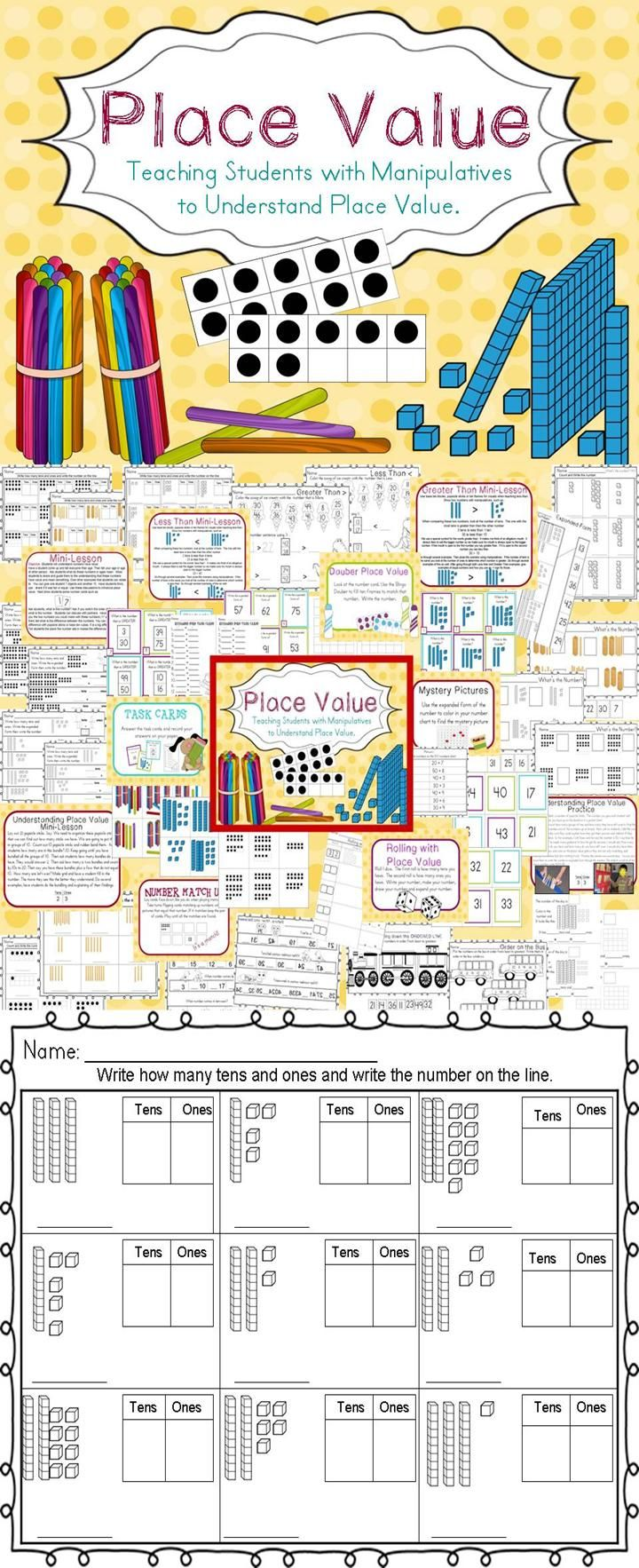 Place Value Pack teaching your students with  manipulatives! this pack has mini-lessons, centers, printables. this pack covers numbers to 99. #placevalue #math #tpt
