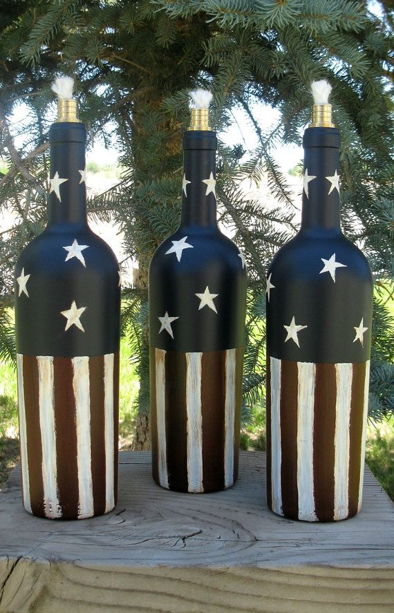 Tiki Torch Wine Bottle Independence Day by PurposefulRepurpose