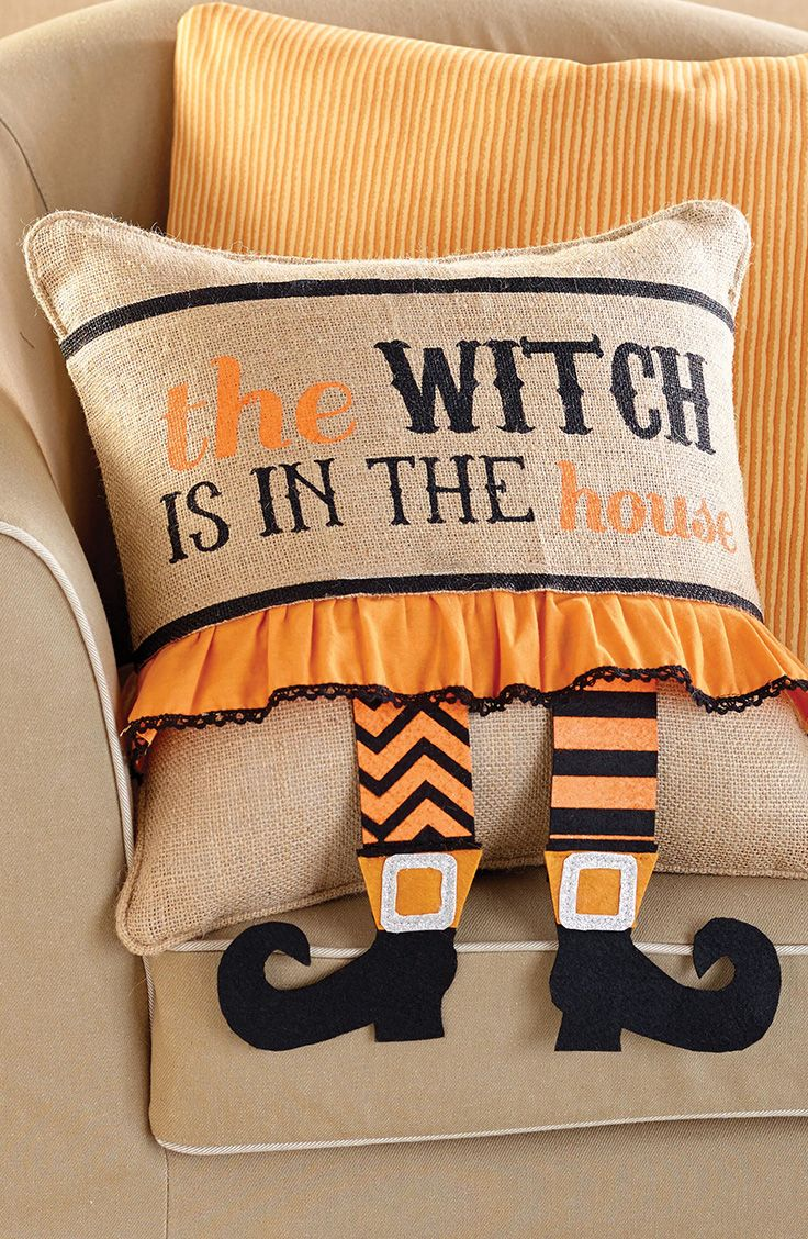 "Burlap Halloween pillow wrap features ""the witch is in the house"" printed message and dimensional hanging witch legs. Fits 15'' square pillow. Fastens with Velcro. Makes the perfect home haloween decor!"