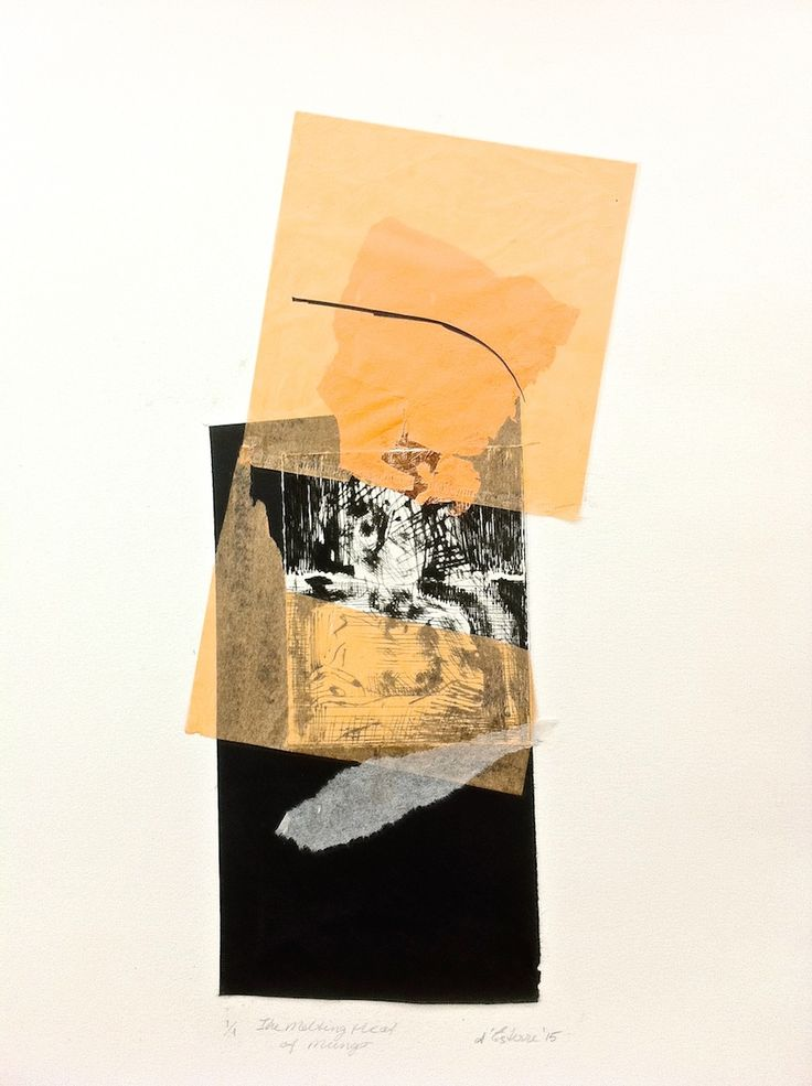 ELAINE d'ESTERRE - 'The Melting Heat at Mungo', 1/1, 2015, drypoint, chine-colle and gold leaf by Elaine d'Esterre at elainedesterreart.com and http://www.facebook/elainedesterreart/ and http://instagram.com/desterreart/