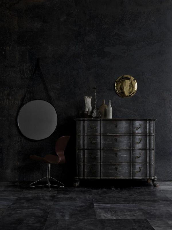black interior design