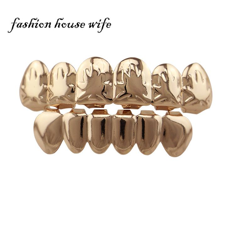 >> Click to Buy <<  Fashion Rose Gold Top & Bottom Teeth Grillz Bar Fake Mouth Copper Teeth Caps Hip Hop Tooth Grillz Cosplay Jewelry NL0020 #Affiliate
