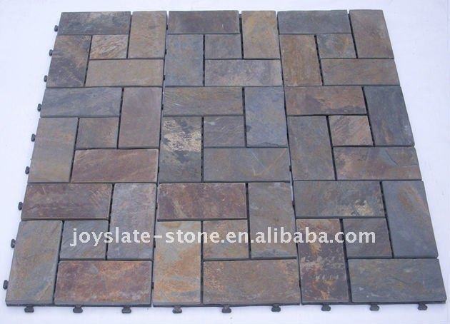 Diy Interlocking Slate Bathroom Floor Tile Buy Bathroom