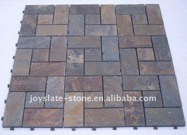 Diy Interlocking Slate Bathroom Floor Tile Buy Bathroom