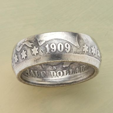 """HALF DOLLAR RING--A vintage coin is hand worked into a ring still bearing the original markings. Coin silver. Made in the USA. Whole and half sizes 6-1/2 to 10, 11, 12, 13. Approx. 5/8""""W."""