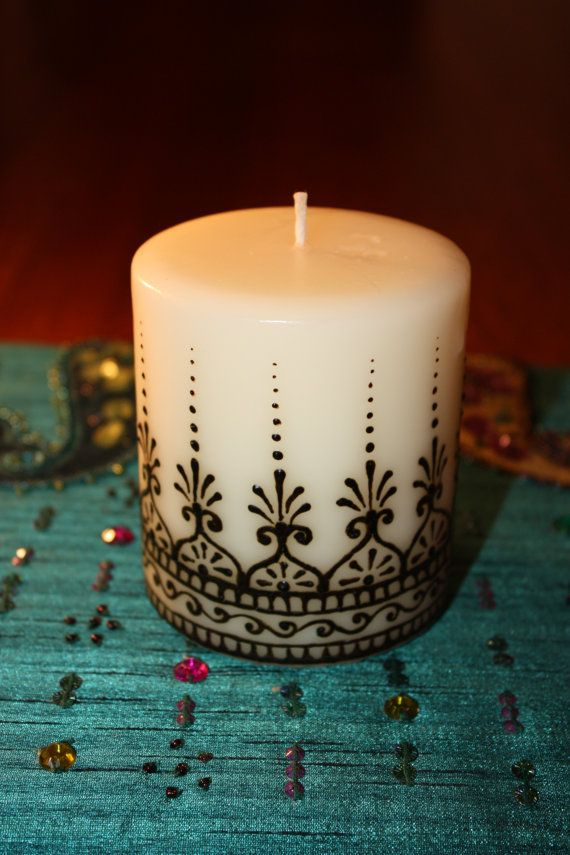 3x3 inch vanilla scented Henna Candle by NewWorldHenna on Etsy