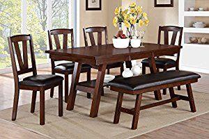 Poundex F2271 & F1331 & F1332 Dark Walnut Table & Chairs/Bench Dining Set