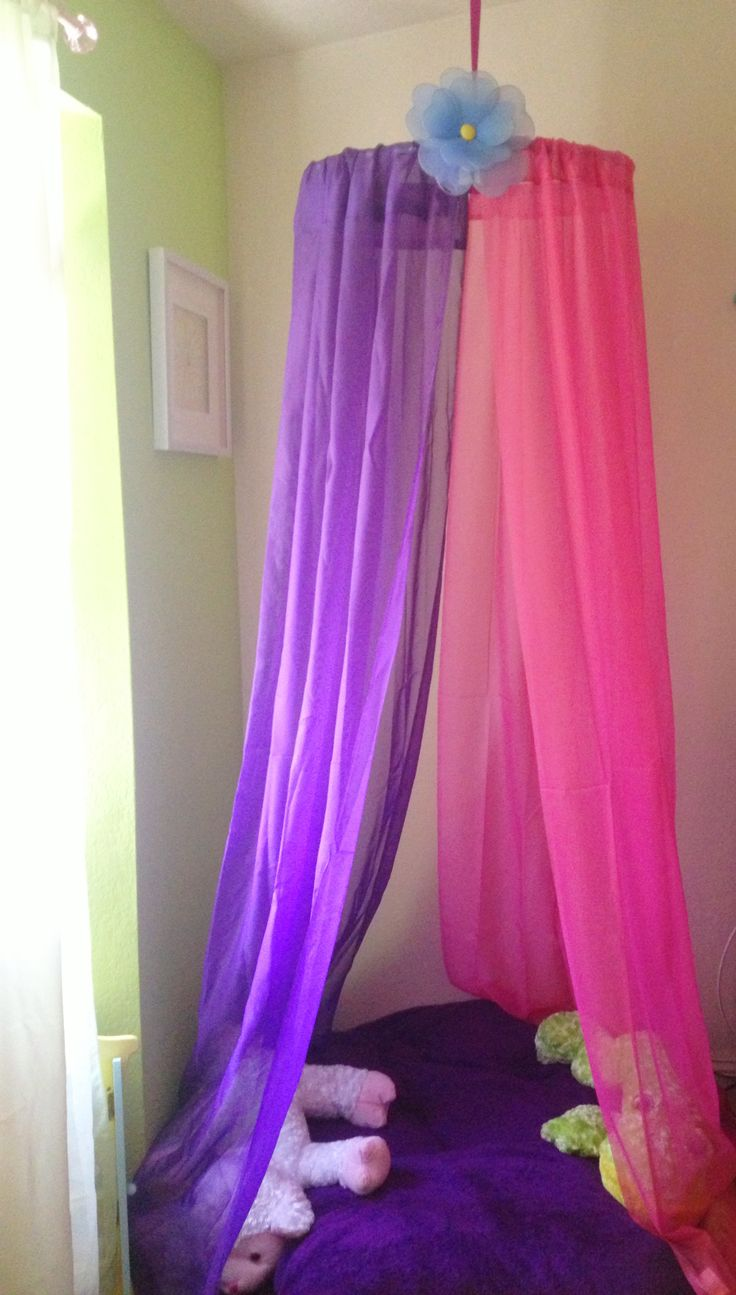 DIY canopy project made for my girls under 10$...using hula hoop,ribbon and sheer curtains.