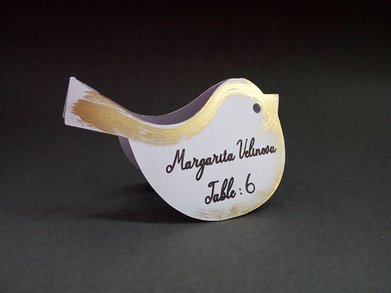 bird place card wedding white and gold name tag silver seating card wedding escort cards rustic table decor layered tented place cards