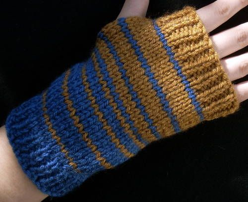 Ravenclaw Color Fade Wrist Warmers, though there's no pattern. And a knit pattern for house scarves!