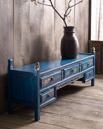 "Blue Antique Kang Cabinet at Horchow. c 1870-1890 56"" w x 13"" D x 21"" H"
