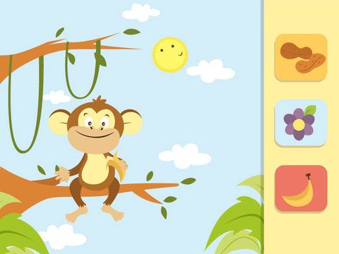 Feed the Animals. ages 2+ / $.99 / iPad, iPhone, iPod Touch.  In this matching app children encounter friendly cartoon animals and upbeat background music.  They are presented with three options of food to feed the animal.  When they select the correct food, the animal eats it.  Players can unlock more animals the more they play!