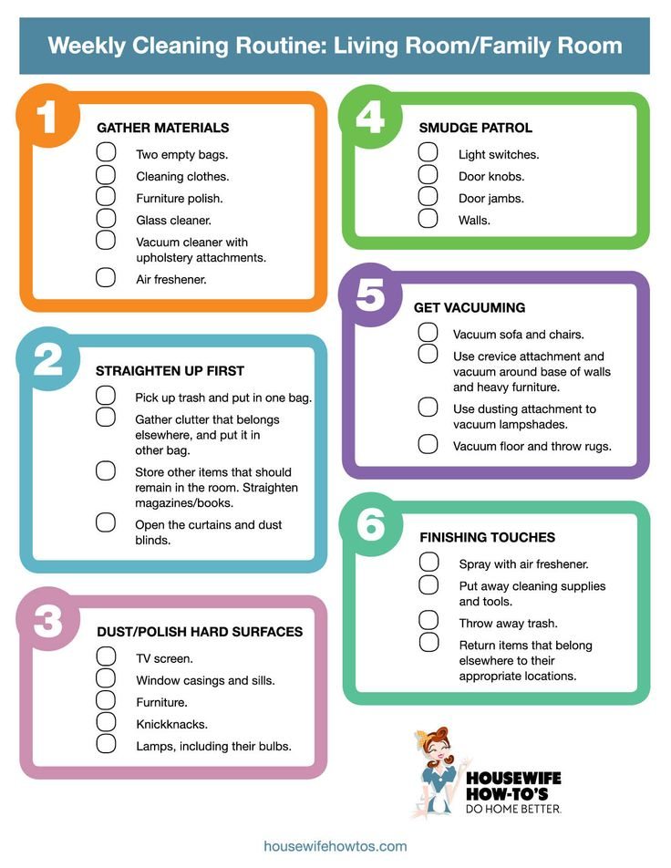 Printable Weekly Cleaning Checklist for living room or family room