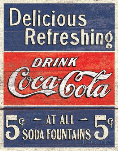 COKE - Delicious 5 Cents Placa de lata