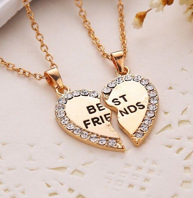 Gold Silver Crystal Broken Heart Best Friend Necklaces Handcrafts Co Friend Necklaces Friendship Jewelry Bff Necklaces