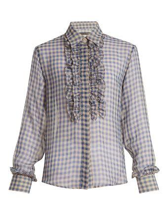 Frilled-placket sheer gingham shirt