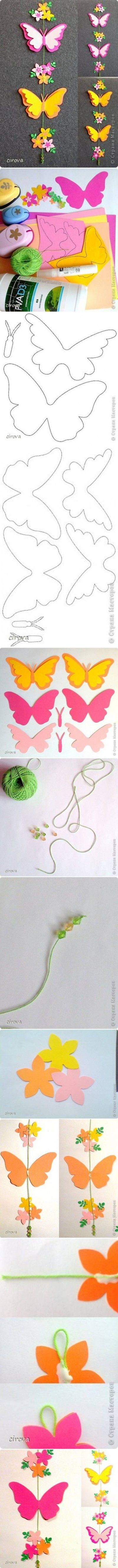 How to make Paper Butterfly Mobile step by step DIY tutorial instructions   - foamy / goma eva