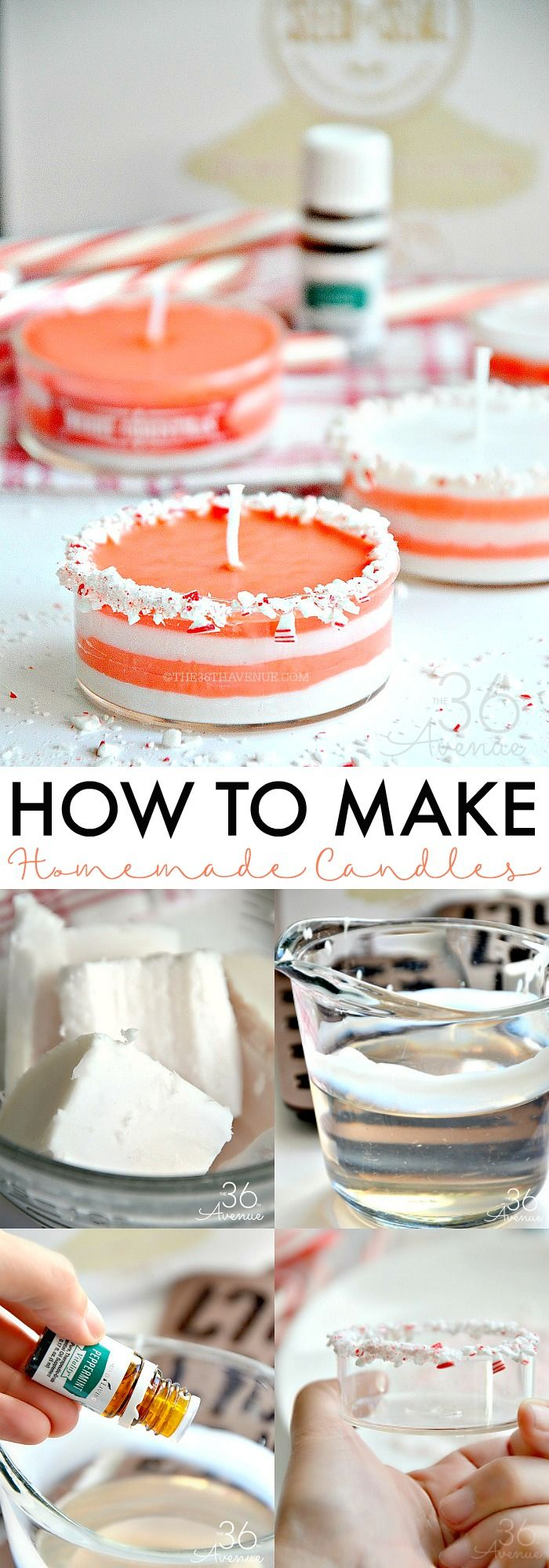 How to make homemade candles - These Peppermint Candles are easy to make and super fun to give!