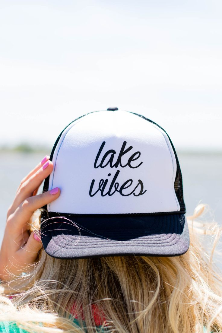 Lake vibes trucker hat. This throwback trucker hat is a must have for any lake babe this Summer! Adjustable mesh back.