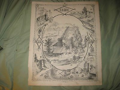 ANTIQUE 1873 ALTON MADISON COUNTY ILLINOIS LITHOGRAPH PRINT LIME CEMENT WORKS NR