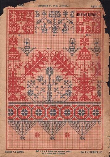 """Рисунок вышивки крестом. приложение к журналу """"Родина"""", апрель 1904. #вышивкакрестом #cross_stitch_design"""