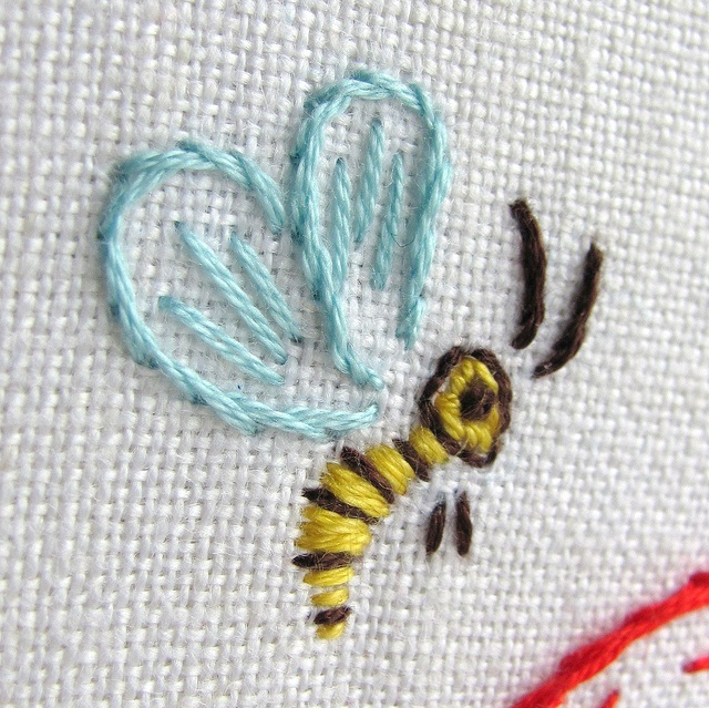 Bee embroidery detail by joey s dream garden via flickr