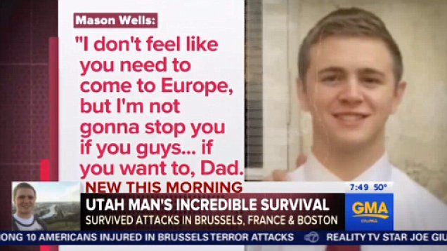 American Mormon missionary Mason Wells who was injured in the horrifying Brussels airport terrorist attack previously survived the Boston bombing and the Paris attacks.