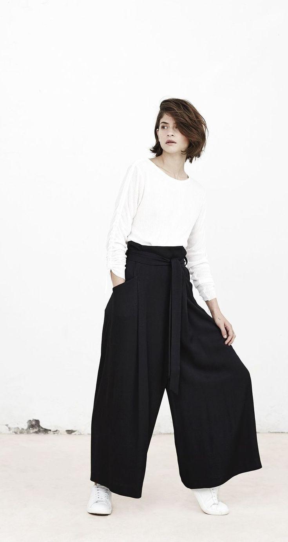 Chic Style - white top & black palazzo pants // Mango Spring 2015