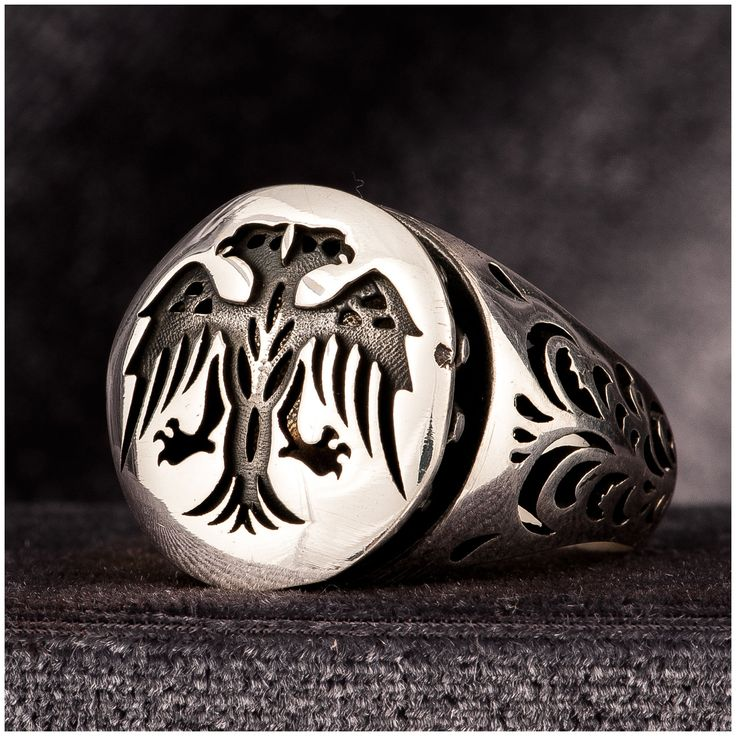 Turkish Mens Ring Double Head Eagle 925 Sterling Silver - J310