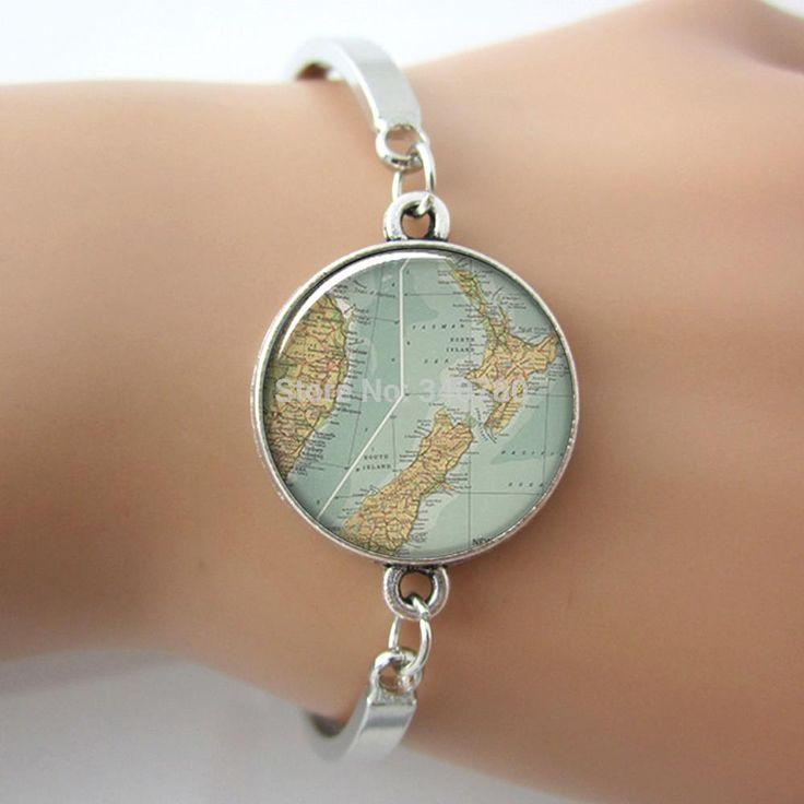Новая Зеландия карта браслет, новая Зеландия карту стекло сделано браслет, новая Зеландия jewelry. G056.