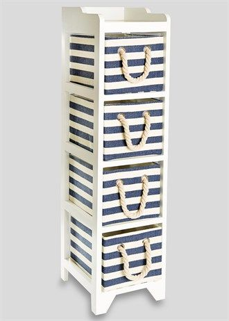 4 Drawer Stripe Wooden Tower Unit (24.5cm x 29cm x 95cm) - Matalan