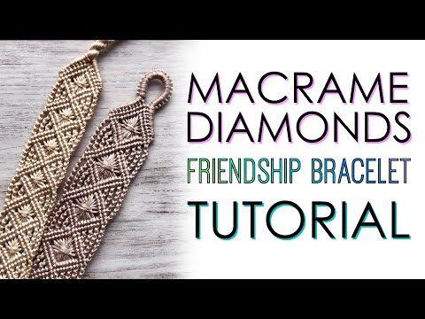 Macrame Bracelet Diy, Macrame Bracelet Patterns, Diy Leather Bracelet, Macrame Purse, Bead Loom Bracelets, Macrame Patterns, Diamond Friendship Bracelet, Friendship Bracelets Tutorial, Micro Macrame Tutorial