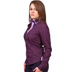 Женская рубашка Poggino приталенная цвет фиолетовый в горошек