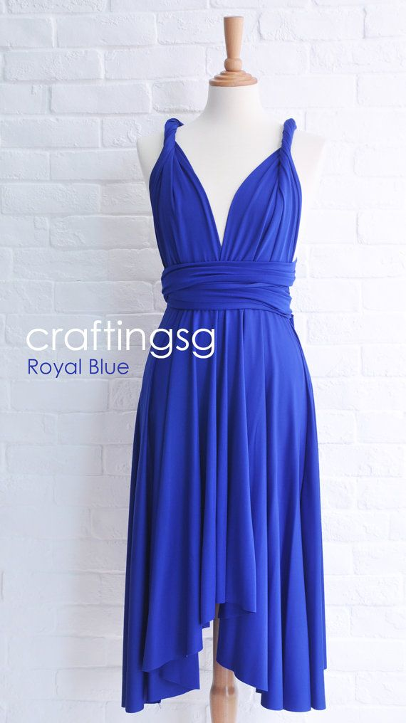 Bridesmaid Dress Infinity Dress Royal Blue Knee by craftingsg
